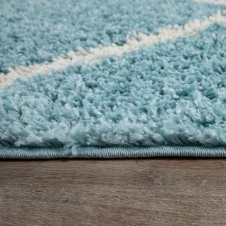 Teppich Wohnzimmer Hochflor Shaggy Skandi Design Mit Rauten Muster, Modern In Türkis - Vorschau 4