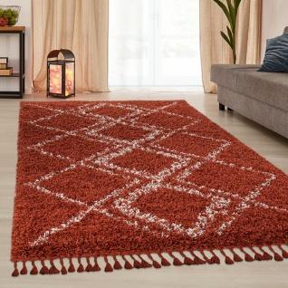 Teppich Wohnzimmer Shaggy Hochflor Modern Karo Rauten Muster In Terracotta Weiß