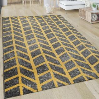 Teppich Wohnzimmer Muster Geometrisch Modern Kurzflor Streifen In Grau Gelb