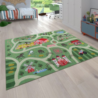 Kinder-Teppich Für Kinderzimmer, Spiel-Teppich Mit Landschaft und Pferden, In Grün