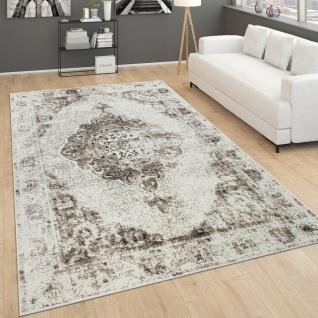 Teppich Wohnzimmer Kurzflor Vintage Orientalisches Muster Modern Beige Creme