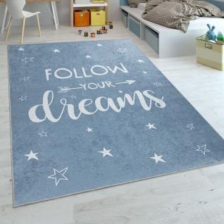 Kinderteppich, Spielteppich Für Kinderzimmer, Mit Spruch-Motiv Und Sternen, Blau