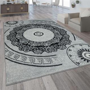 Teppich Wohnzimmer Kurzflor Orient Design Vintage Mandala Muster Grau Weiß