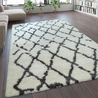 Hochflor-Teppich, Shaggy Im Flokati-Stil Mit Rauten-Muster In Grau Weiß