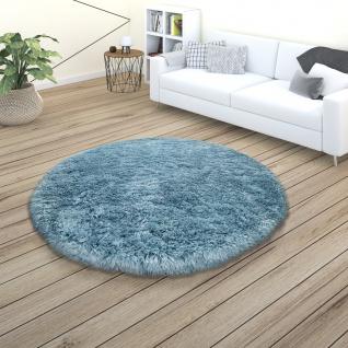 Hochflor Teppich Wohnzimmer Shaggy Pastell Einfarbig Weich Flauschig Türkis - Vorschau 3