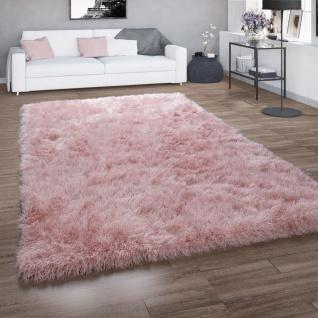 Hochflor-Teppich, Shaggy Für Wohnzimmer, Mit Glitzer-Garn, Einfarbig In Rosa