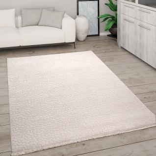 Teppich Wohnzimmer Kurzflor Mit Fransen 3D Effekt Weich Abstraktes Muster Beige
