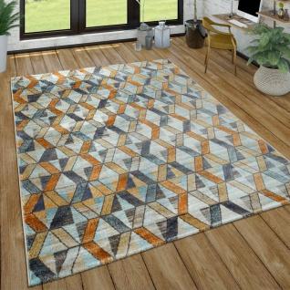 Wohnzimmer-Teppich m. Rauten-Muster, Moderner Kurzflor-Teppich In Gelb, Blau, Grau
