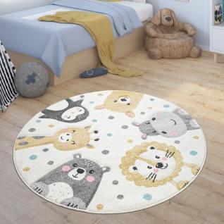Kinderteppich Rund Teppich Kinderzimmer Zoo Tiere Pinguin Lama Nilpferd Löwe Bär