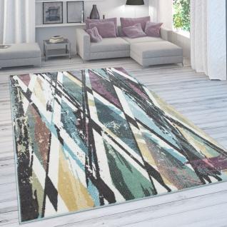 Designer-Teppich Für Wohnzimmer, Kurzflor in Pastellfarben, Rauten-Look, In Bunt