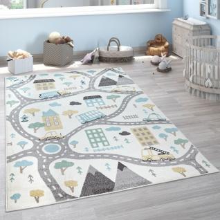 Kinderteppich Teppich Kinderzimmer Spielteppich Pastell Autos Creme Petrol Grau