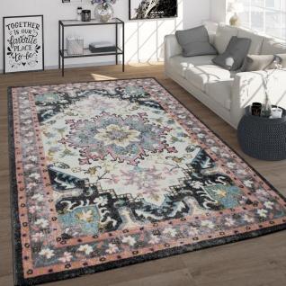 Vintage-Teppich, Frisé-Kurzflor Für Wohnzimmer, Orient-Design, Cream