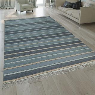 Natur Teppich Wolle Modern Handgewebt Gestreift Kelim Design Fransen