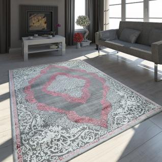 Teppich Wohnzimmer Kurzflor Vintage Ornamente Orient Muster Grau Rosa Creme