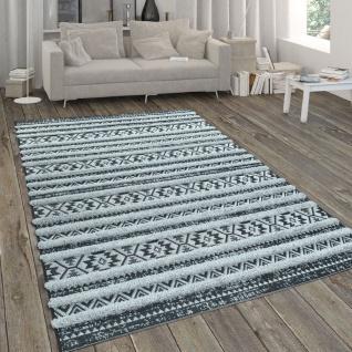 In- & Outdoor-Teppich, Mit Hochflor-Absetzung Und Ethno-Look, In Schwarz-Weiß