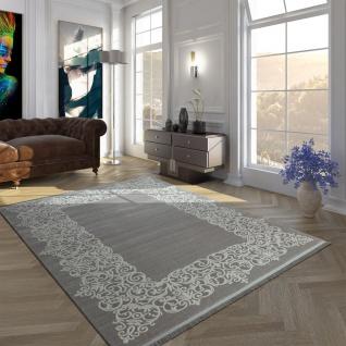 Vintage Polyacryl Teppich Florale Muster Hochwertig Modern Mit Fransen In Grau Weiß