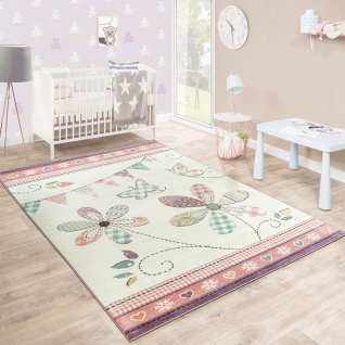 Kinderteppich Mädchenteppich Verspielt Blumig Pastell Farben Rosa Weiß Creme