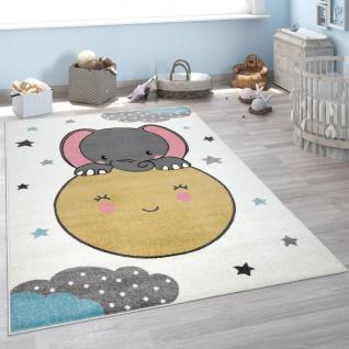 Kinderteppich, Teppich Kinderzimmer Niedlicher Mond, Baby Elefant-Motiv, Weiß Bunt