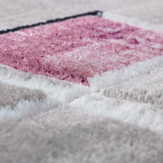 Designer Teppich Konturenschnitt Abstrakt Karo Linien Grau Lila Meliert - Vorschau 3