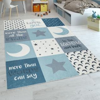 Kinderteppich Kinderzimmer Jungen Waschbar Herzen Sterne Mond Spruch Blau Grau - Vorschau 1