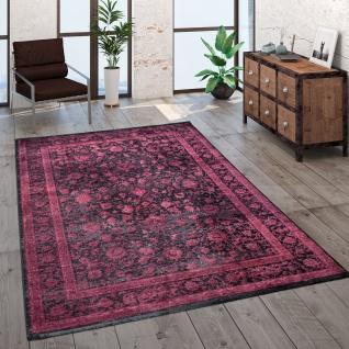 Teppich Wohnzimmer Kurzflor Orient Muster Bordüre Vintage Rot