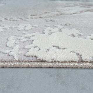 Teppich Wohnzimmer Grau Weiß Blau Polyacryl Kurzflor Modern Marmor Design - Vorschau 2