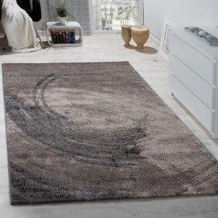 Edler Designer Teppich Hochtief-Effekt Kurzflor Beige Grau Meliert AUSVERKAUF
