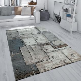 Kurzflor Teppich Grau Wohnzimmer Weich Stein Fliesen Design Karo Muster Robust