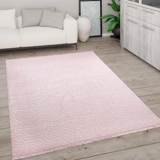 Teppich Wohnzimmer Kurzflor Mit Fransen 3D Effekt Weich Abstraktes Muster Rosa