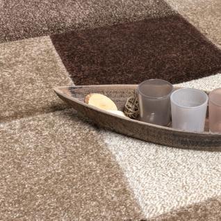 Designer Teppich Modern Handgearbeiteter Konturenschnitt Kariert Braun Beige - Vorschau 2