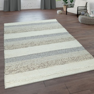 Handgeflochtener Natur Teppich Aus Wolle Streifen Muster In Beige Creme Braun