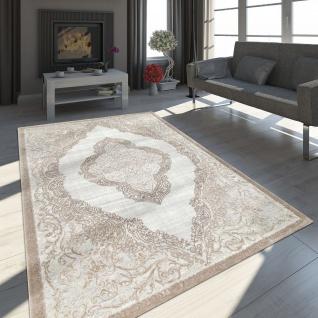 Orient Teppich Modern 3D Effekt Meliert Schimmernd Ornamente In Grau Gold