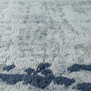 Wohnzimmer-Teppich, Kurzflor Mit Moderner Bordüre, Meliert In Grau Blau - Vorschau 3
