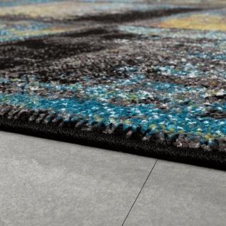 Designer Teppich Modern Wohnzimmer Ölgemälde Abstrakt Rost Optik In Blau Gelb - Vorschau 2