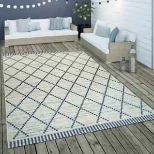 In- & Outdoor Flachgewebe Teppich Geometrisch Streifen Rauten Motiv In Weiß