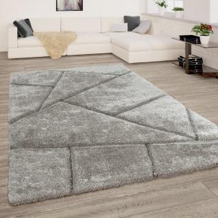 Hochflor Teppich Wohnzimmer Shaggy 3D Effekt Dreieck Muster Modern Grau