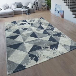 Wohnzimmer-Teppich, Moderner Kurzflor Mit Karo-Design, Meliert In Grau Und Blau