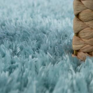 Hochflor Wohnzimmer Teppich Waschbar Shaggy Flokati Optik Einfarbig In Türkis - Vorschau 3