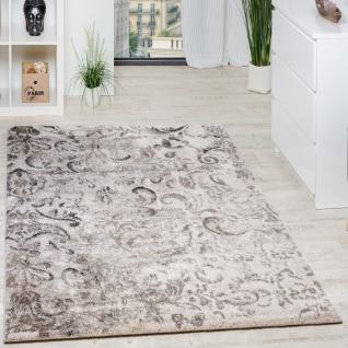 Teppich Modern Webteppich Hochwertig Mit Floral Muster Beige Grau Creme