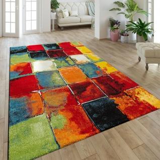 Moderner Kurzflor Designer Teppich Mit Karo Design Gemälde Optik Mehrfarbig Bunt