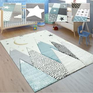 Kinderteppich, Kinderzimmer Pastell Teppich mit 3D Wolken u. Stern Motiven