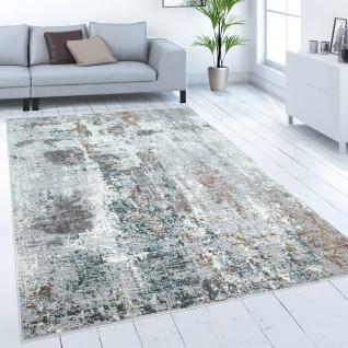 Teppich Wohnzimmer Kurzflor Vintage Muster Abstrak Farbverlauf Modern Grau Creme