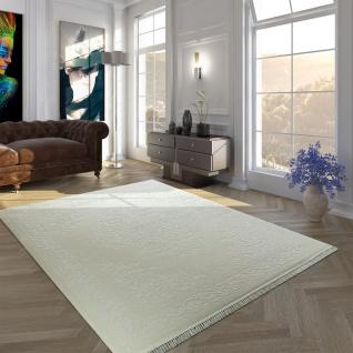 Vintage Acryl Teppich Bordüre Muster Hochwertig Klassisch Fransen Creme Weiß
