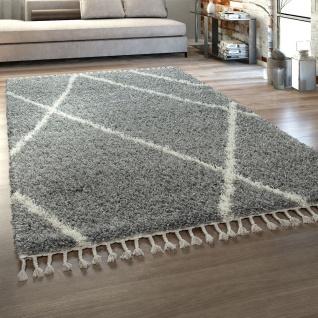 Hochflor Teppich Wohnzimmer Shaggy Skandinavischer Stil Modern Fransen Grau Creme