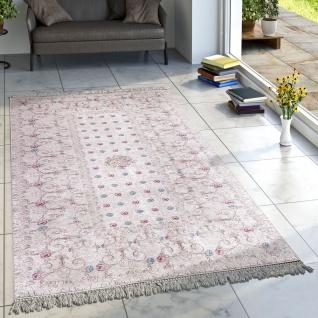 Designer Teppich Wohnzimmer Teppiche Orient Bedruckt Pastellfarben Creme Türkis