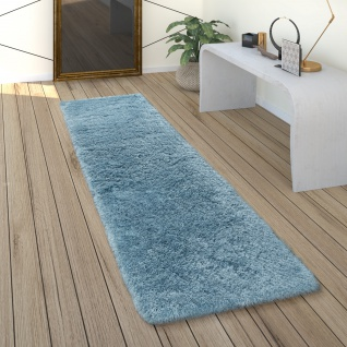 Hochflor Teppich Wohnzimmer Shaggy Pastell Einfarbig Weich Flauschig Türkis - Vorschau 4