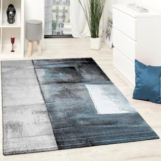 Designer Teppich Modern Kurzflor Wohnzimmer Trendig Meliert Türkis Creme  Grau
