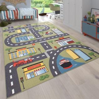 Teppich Kinderzimmer Kinderteppich Spielteppich Straßen Und Auto Motiv Grün Grau