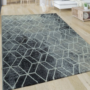 Wohnzimmer-Teppich, Kurzflor Mit Retro-Design Und Rauten-Muster, In Weiß  Grau