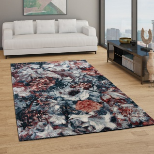 Teppich Wohnzimmer Kurzflor Boho Design Mit Modernem Floralem Muster Grau Rosa